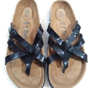Betula Birkenstock black patent leather sandals 37
